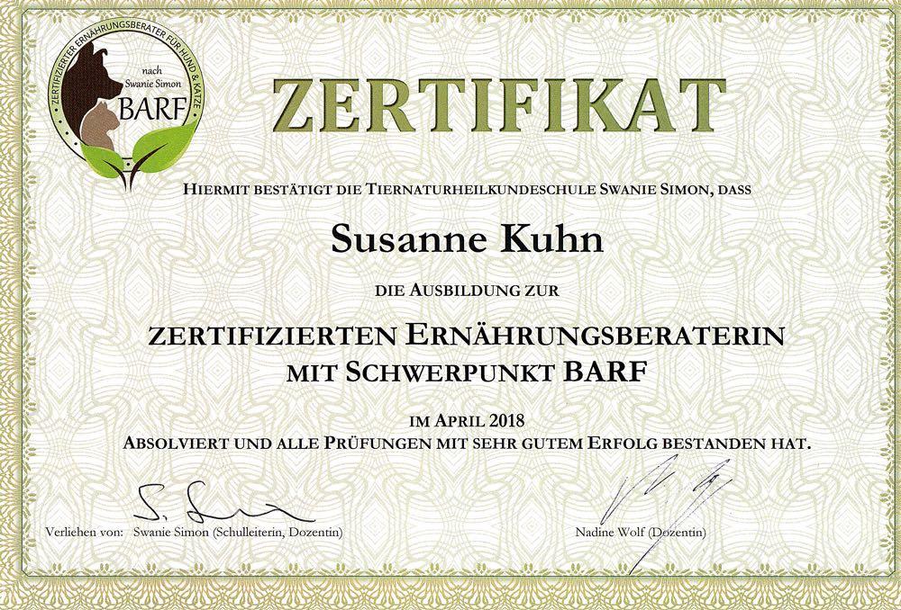 barf artgerecht - Zertifikat Ernährungsberaterin